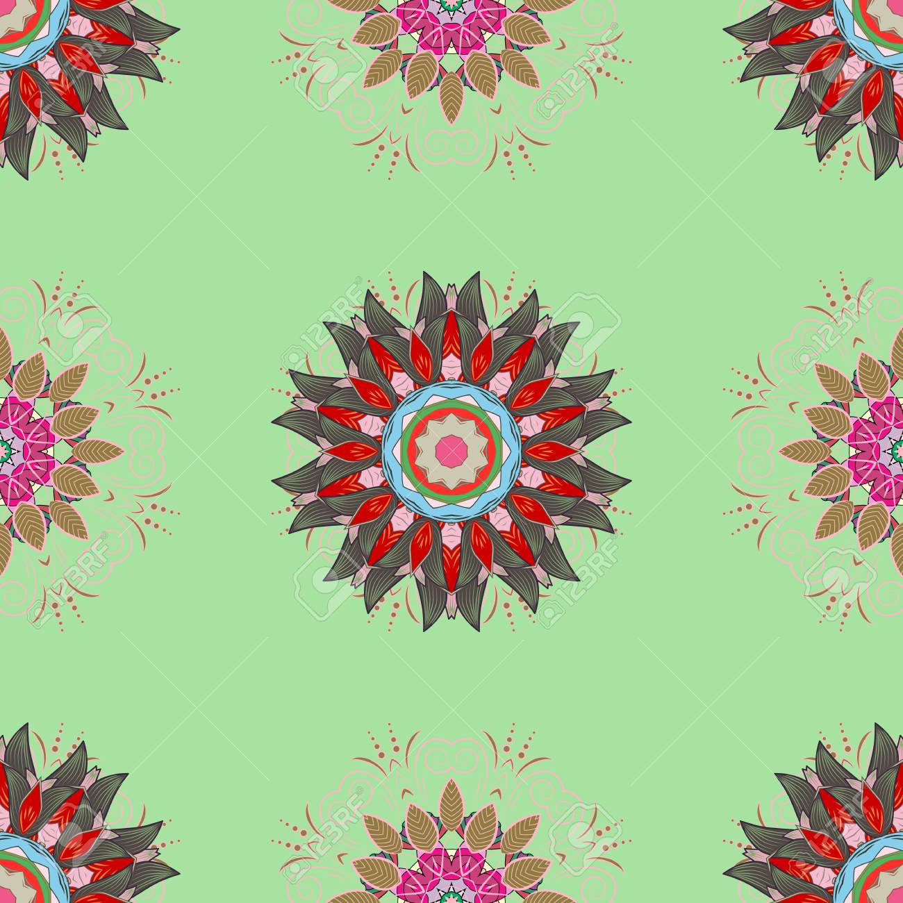 Vector Illustration Seamless Floral Pattern With Nice Doodles Royalty Free Cliparts Vectors And Stock Illustration Image 82839002