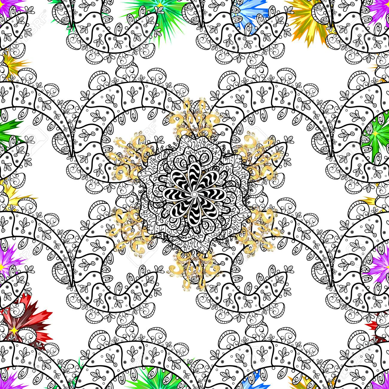 Flat Flower Elements Design Colour Spring Theme Seamless Pattern Background Flowers On White