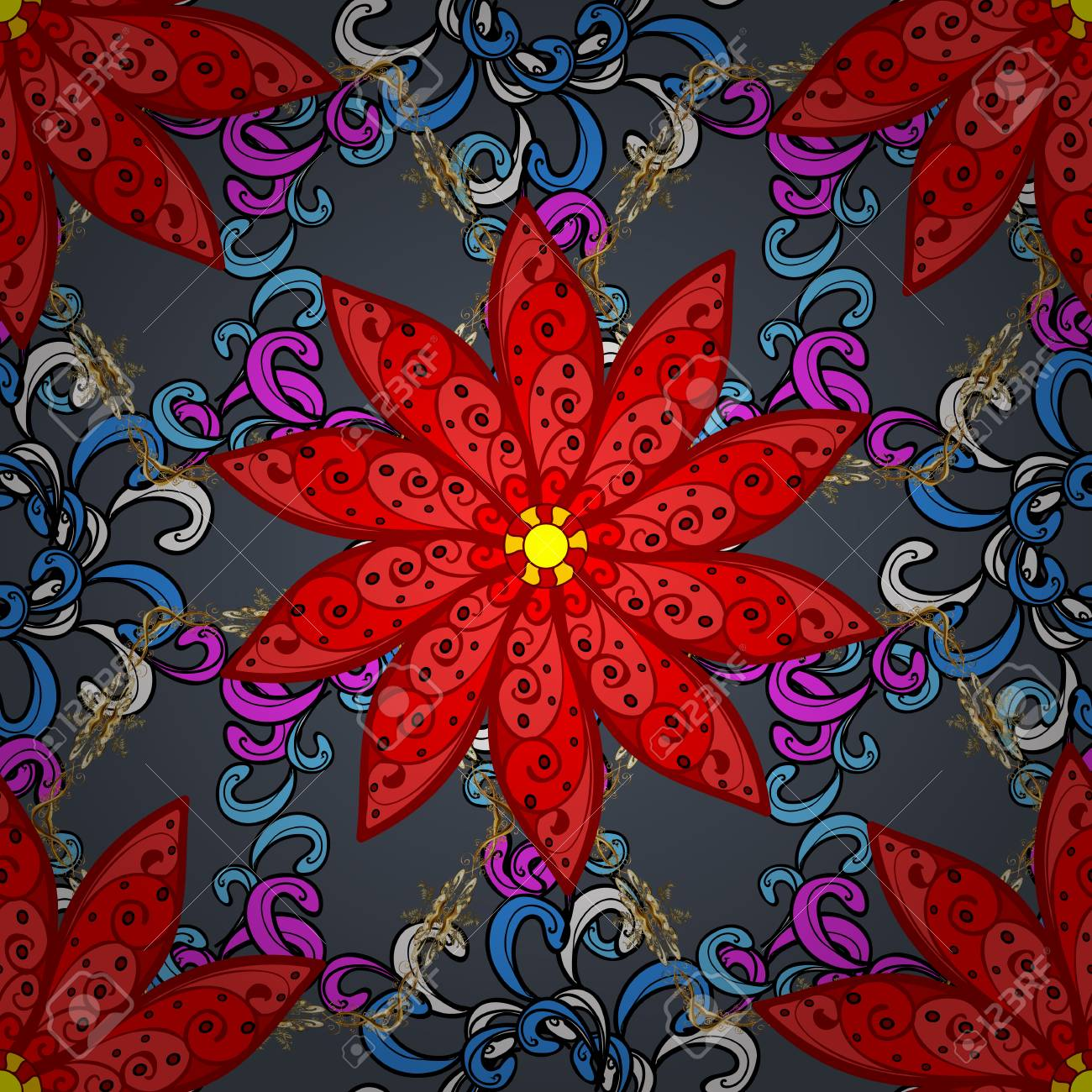Floral Seamless Pattern Background. Flowers On Red, Blue And ...