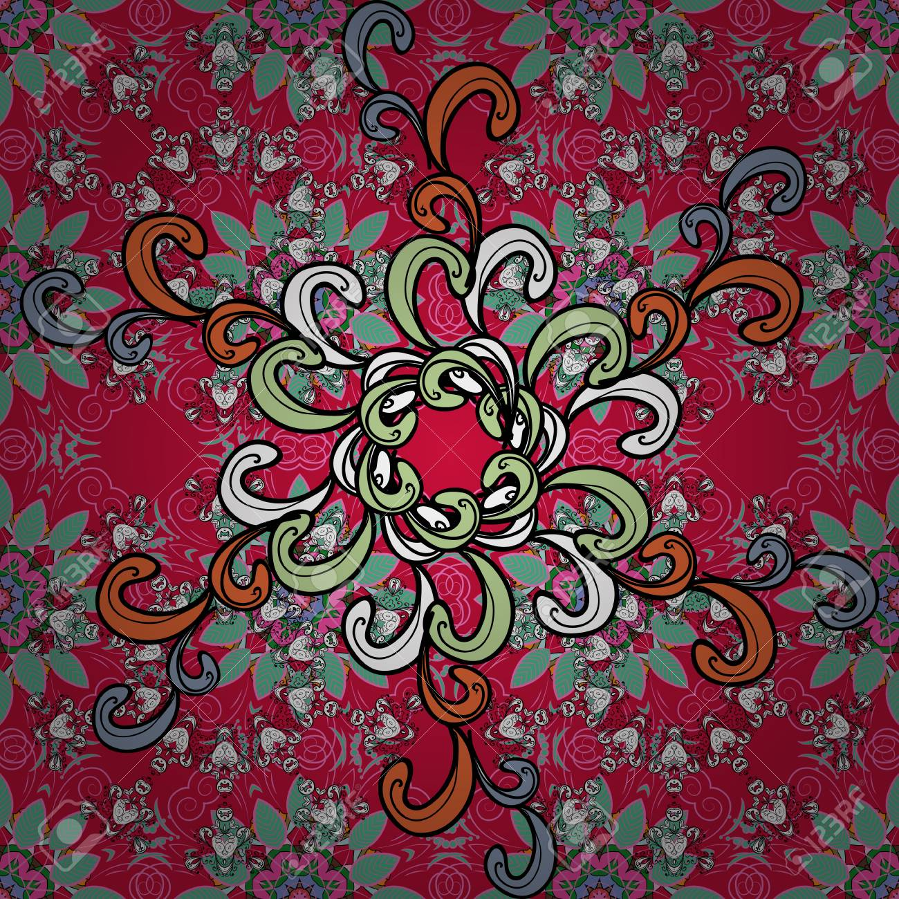 Background Texture Sketch Floral Theme In Red Black And Pink