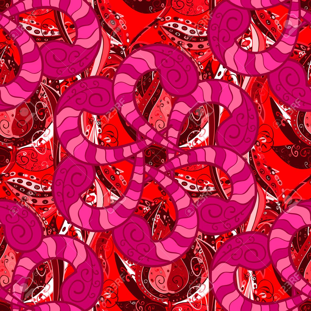 Pretty Floral Print With Red Magenta And Pink Small Flowers
