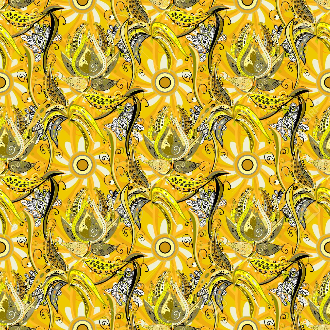 Elegant Seamless Pattern With Decorative Flowers In Yellow Neutral