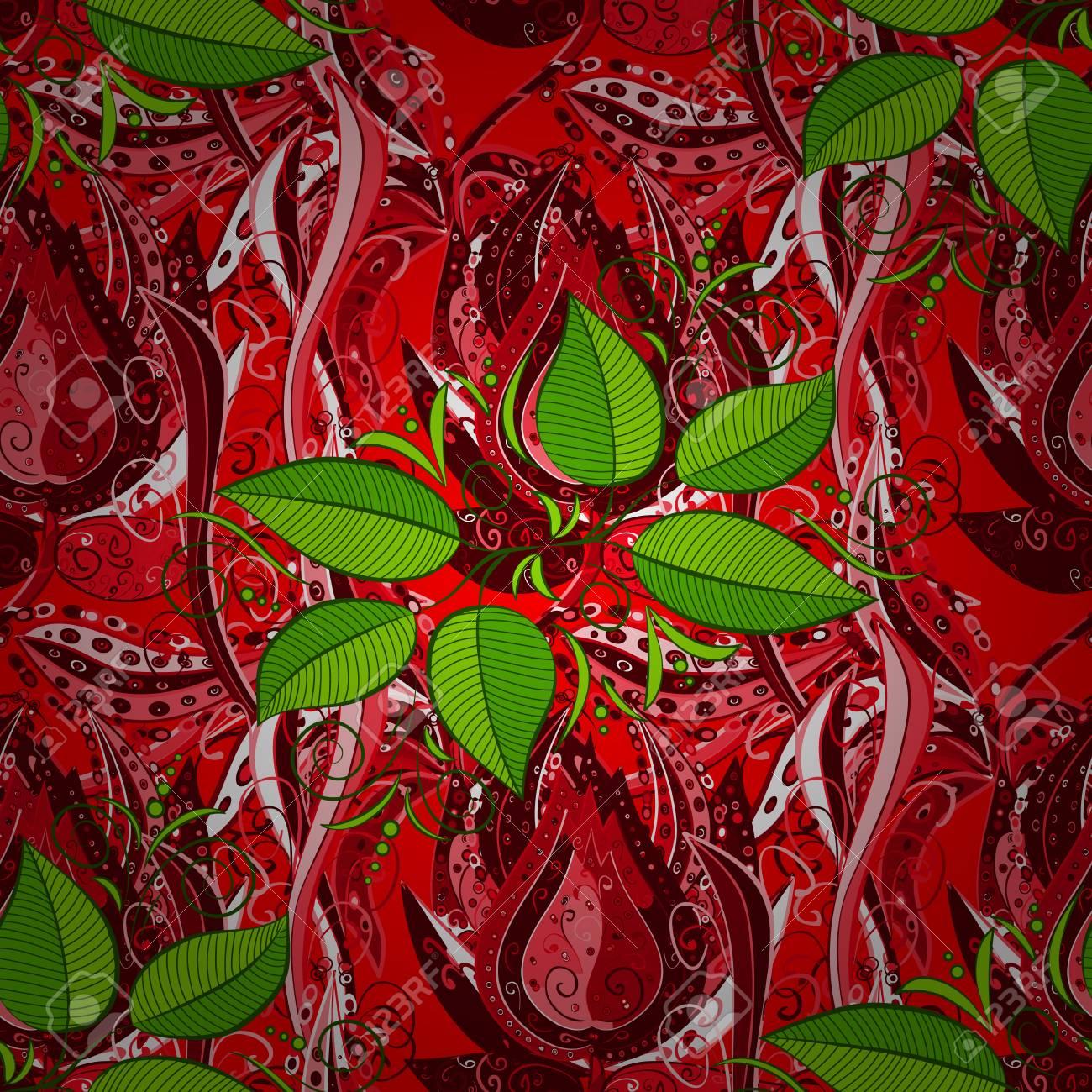 Concepto De Flor Patrón Natural De La Hoja En Colores Rojo, Verde Y ...