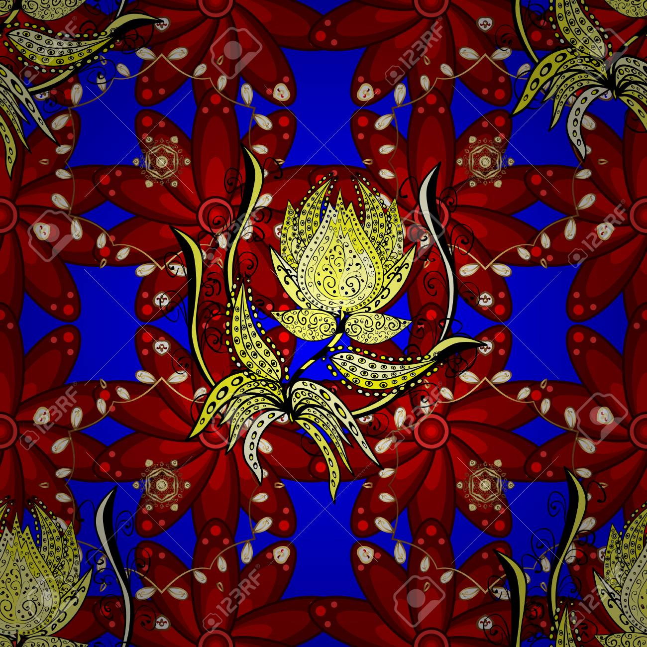 Vector Pattern Red Blue And Yellow Flowers Floral Collage