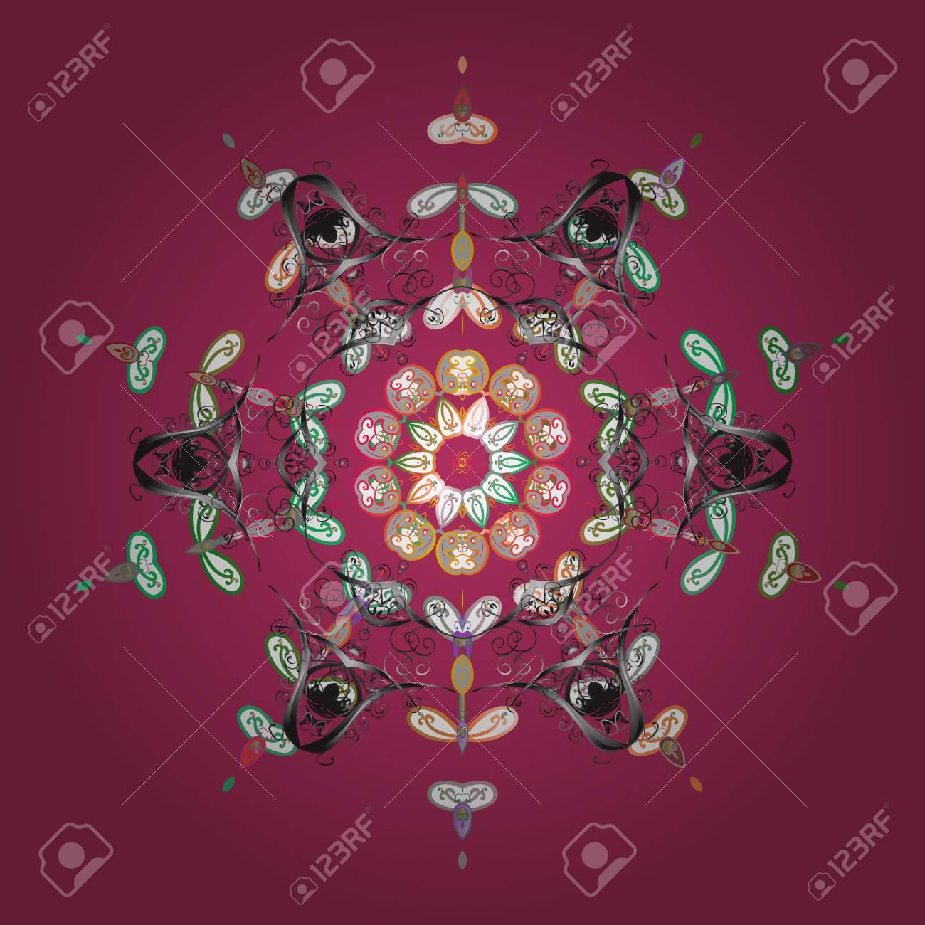 抽象的な壁紙 装飾をラップします ピンク グレーと白の色にピンク グレーと白の雪 冬 メリー クリスマス 新年あけましておめでとうございますお祝いベクター デザインのシンボルです シンプルな雪の結晶のイラスト素材 ベクタ Image