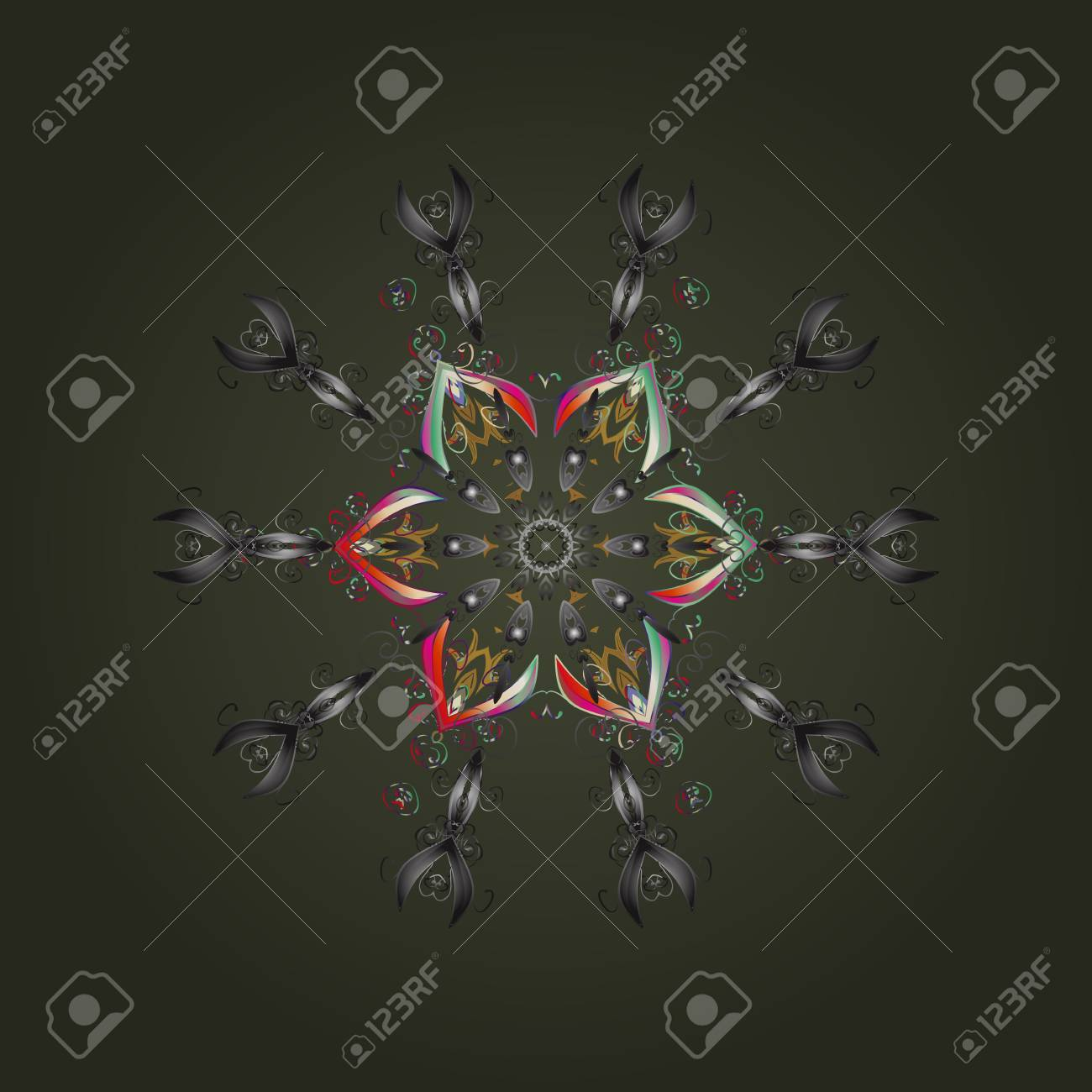 冬 メリー クリスマス 新年あけましておめでとうございますお祝いベクトル図のシンボルです 抽象的な壁紙 装飾をラップします 緑 灰色と中立的な色のかわいいスノーフレーク シンプルな雪の結晶 のイラスト素材 ベクタ Image