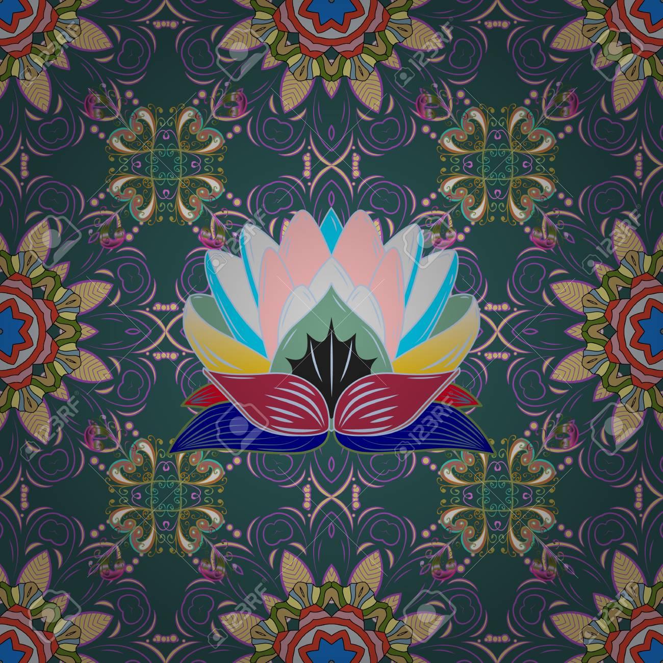 Tribal Art Boho Print Vintage Flower Background Texture