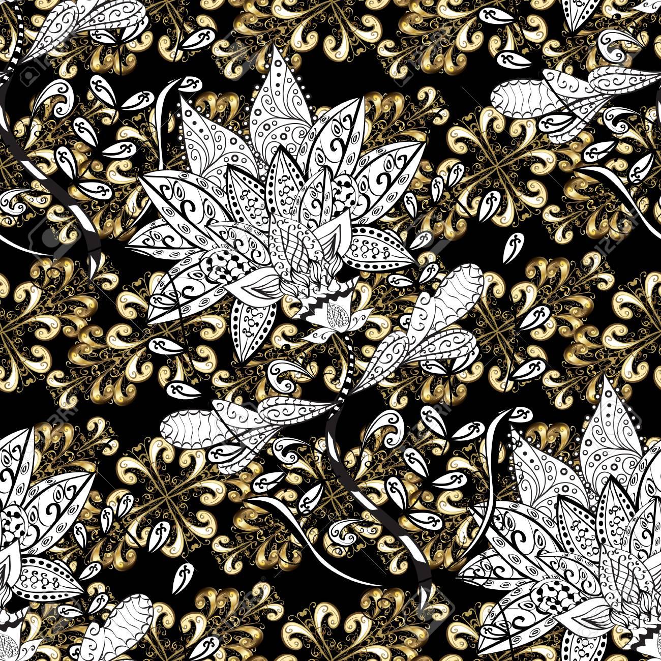 Golden Floral Wallpaper Golden Element On Black White And Beige