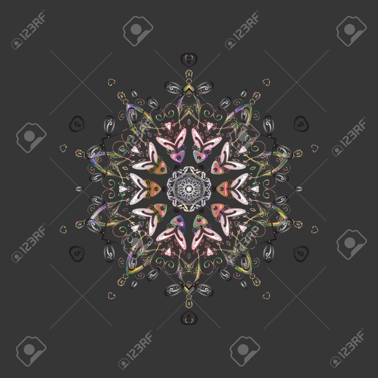 抽象的な壁紙 装飾をラップします グレー ニュートラルとピンク色のかわいいスノーフレーク 冬 メリー クリスマス 新年あけましておめでとうございますお祝いベクトル図のシンボルです シンプルな雪の結晶 のイラスト素材 ベクタ Image