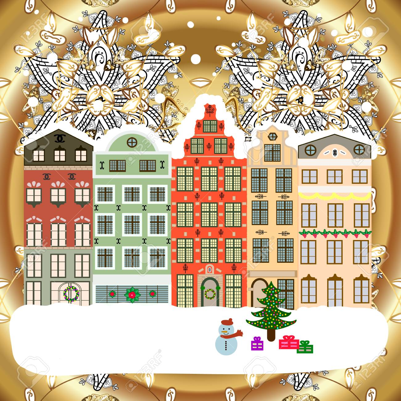 Holiday background with a christmas tree and houses over a background. Vector illustration. - 91831097
