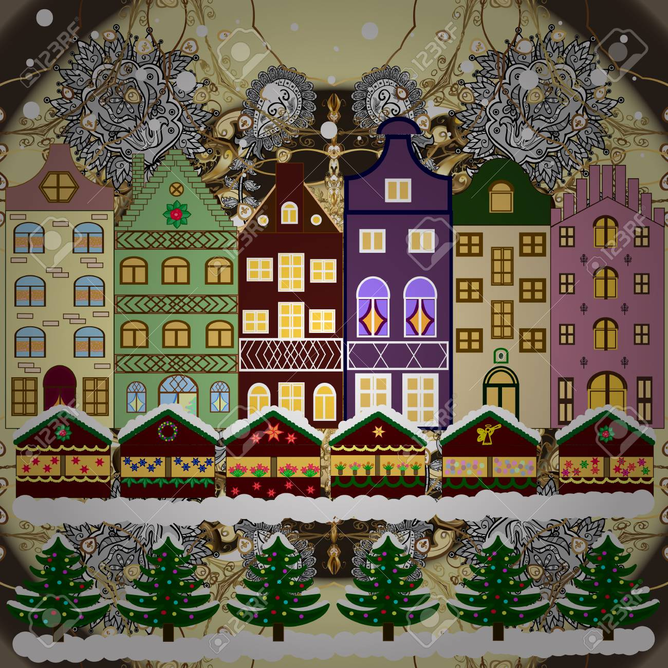 Christmas Houses Village.Village Winter Landscape With Snow Cove Houses And Christmas