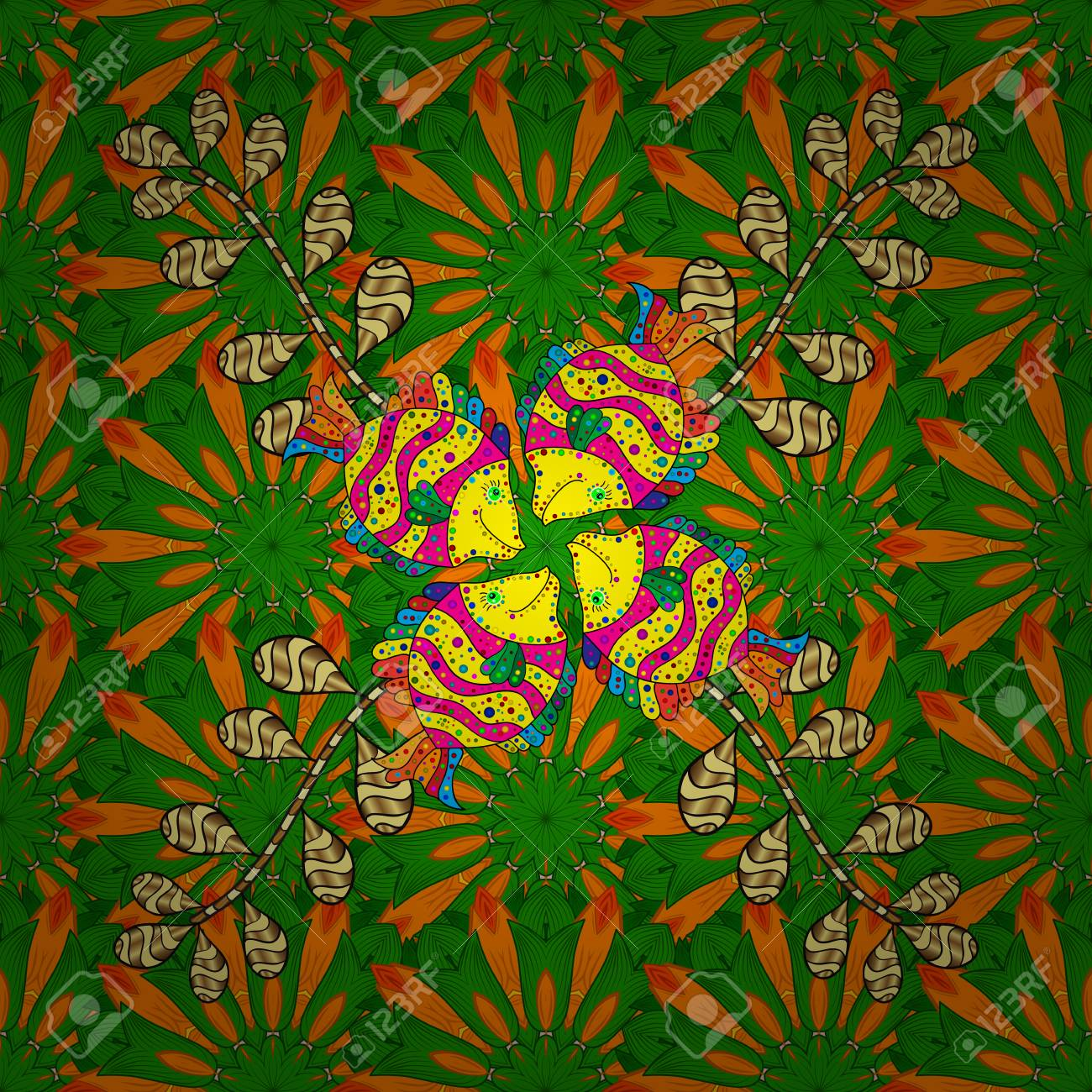 Scenic Flower Pattern On Green Orange And Yellow Colors Floral