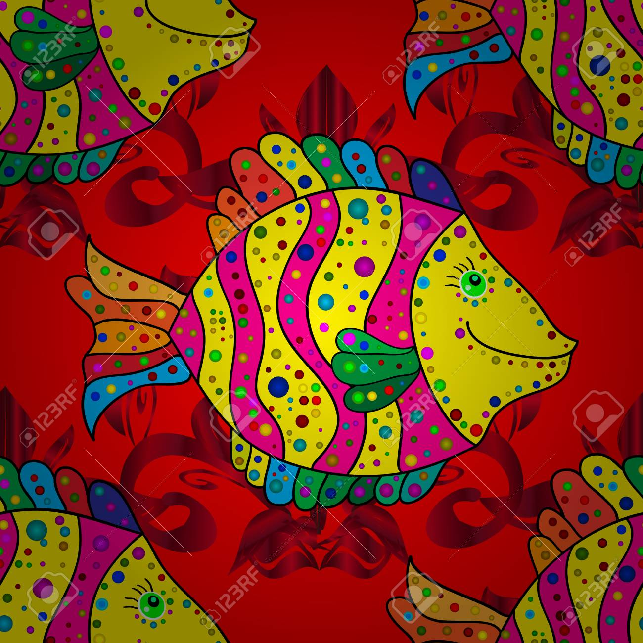 Vector Illustration Kids Background Fishes On Red Yellow And Royalty Free Cliparts Vectors And Stock Illustration Image 97495823