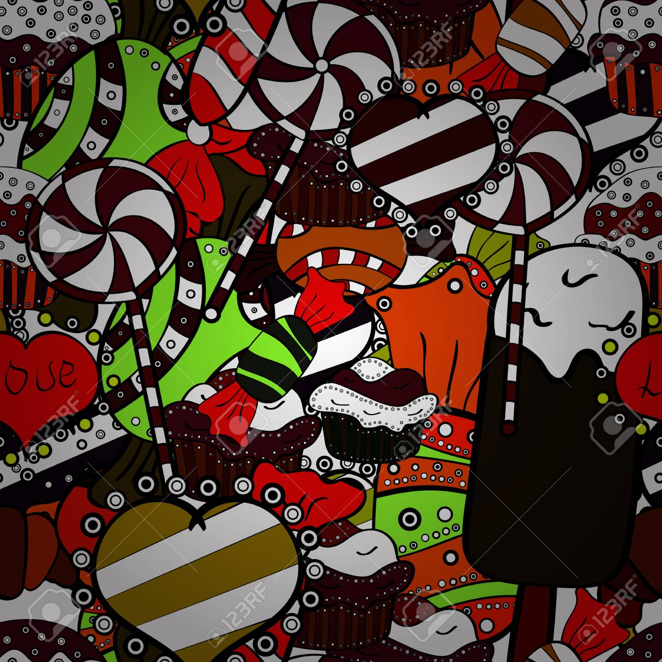 Christmas Graffiti Background.Christmas Vector Seamless Pattern With Candies On Black White