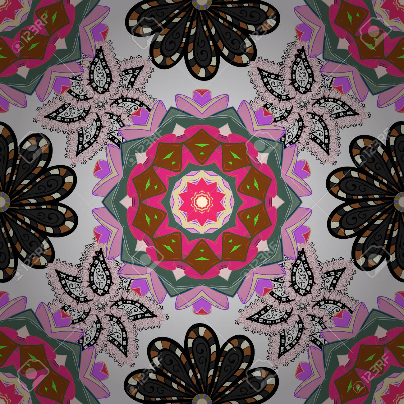 Floral Neutral Pink And Black Seamless Pattern Vector Flower