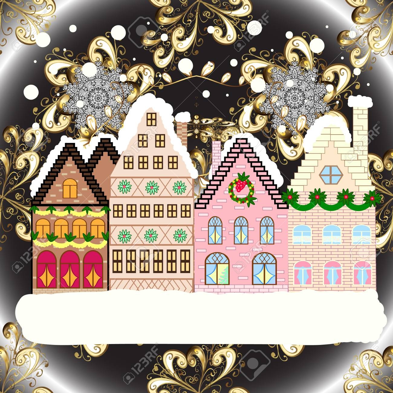 Christmas Houses Village.Christmas Winter Scene Evening Village Winter Landscape With