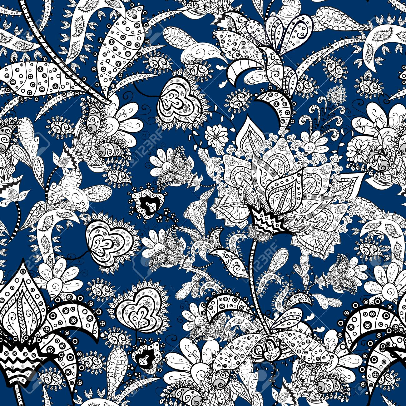 White Blue And Black Colors Vector Eamless Pattern Floral