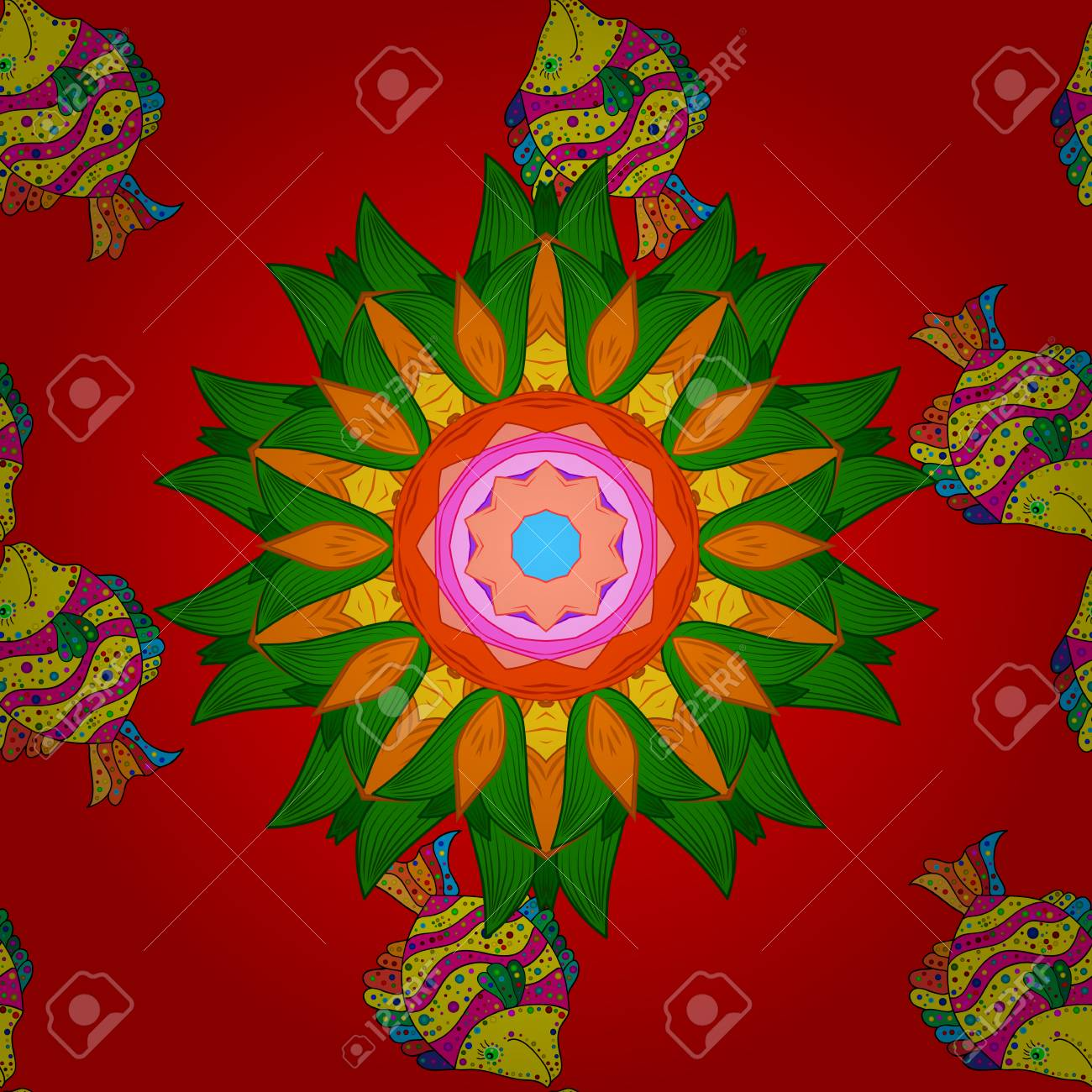Fishes On Red, Green, Orange. Vector. Stylized Vector Cute Color ...