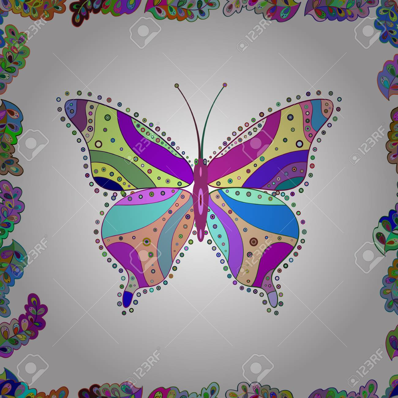 Beautiful Colorful Butterfly On A White Blue And Violet Background Children Butterfly Seamless Pattern Illustration Fashion Butterfly Wallpaper For