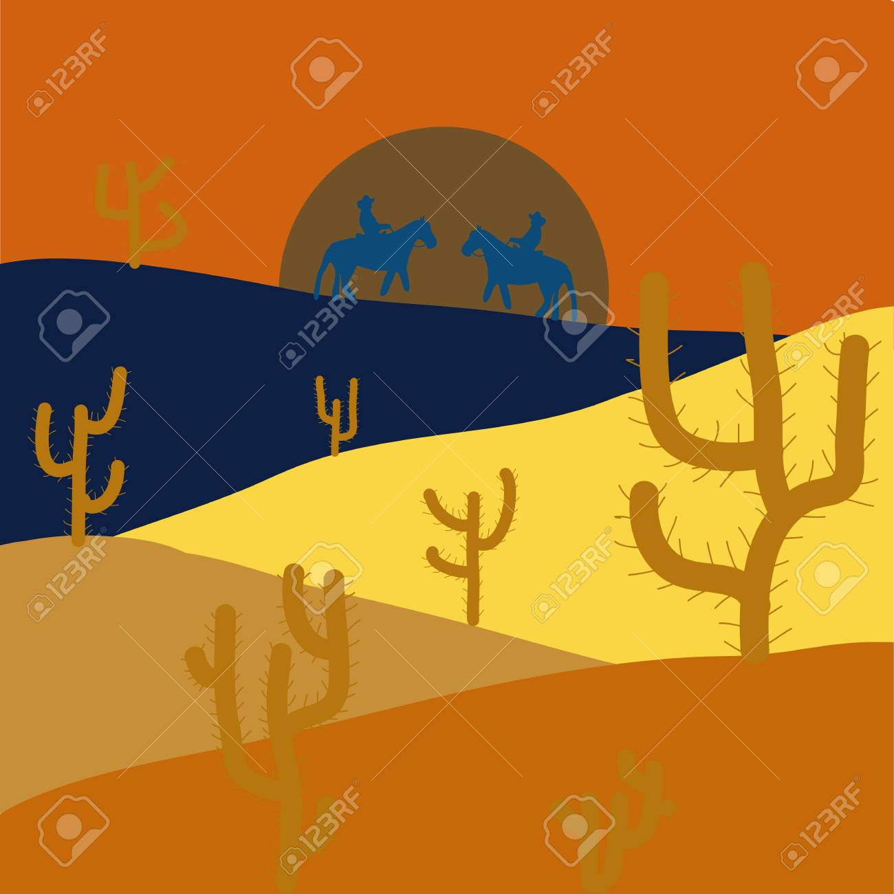 Back to nature. Design on orange, yellow and blue colors. Horizon line with sky. Extreme tourism and traveling. Desert trip. Sands. Birds. Mountains. Exploring Africa. Vector illustration. - 110172782