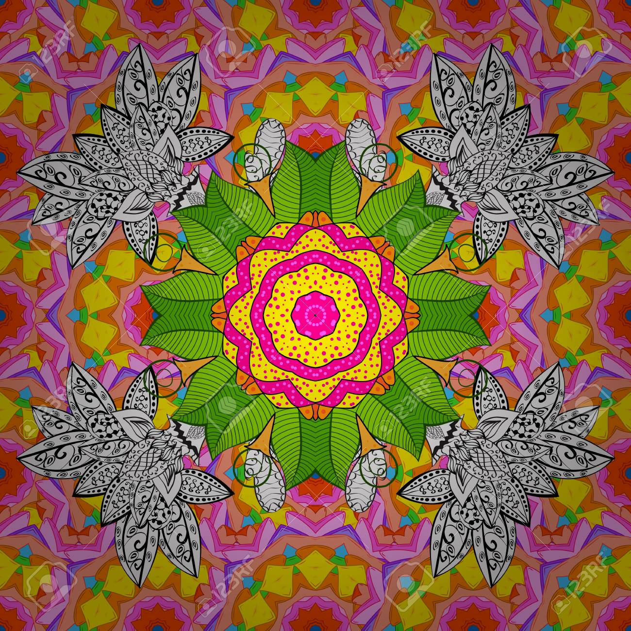 Floral Hand Drawn Seamless Pattern Modern Flourish Orange White
