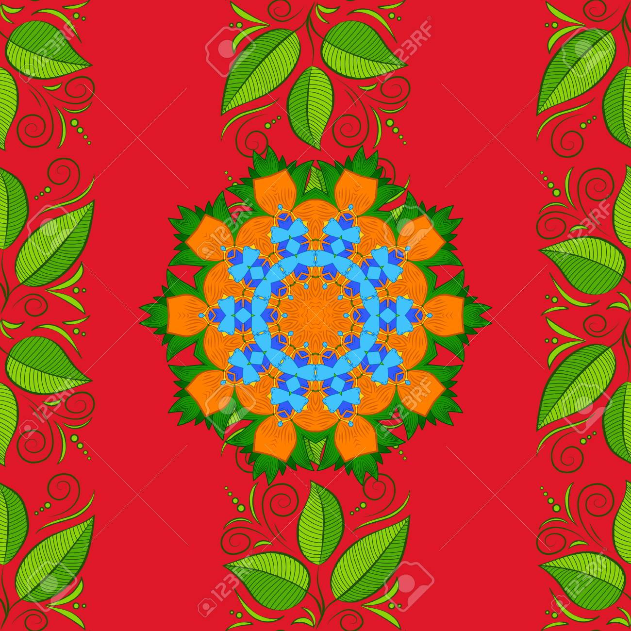 Vector flat leaves seamless pattern. Leaves on colored background. Design gift wrapping paper, greeting cards, posters and banner design. - 126481080