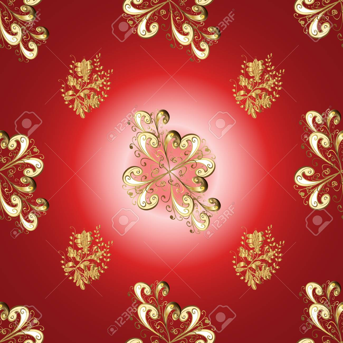 Gold Floral Ornament In Baroque Style Golden Element On Red