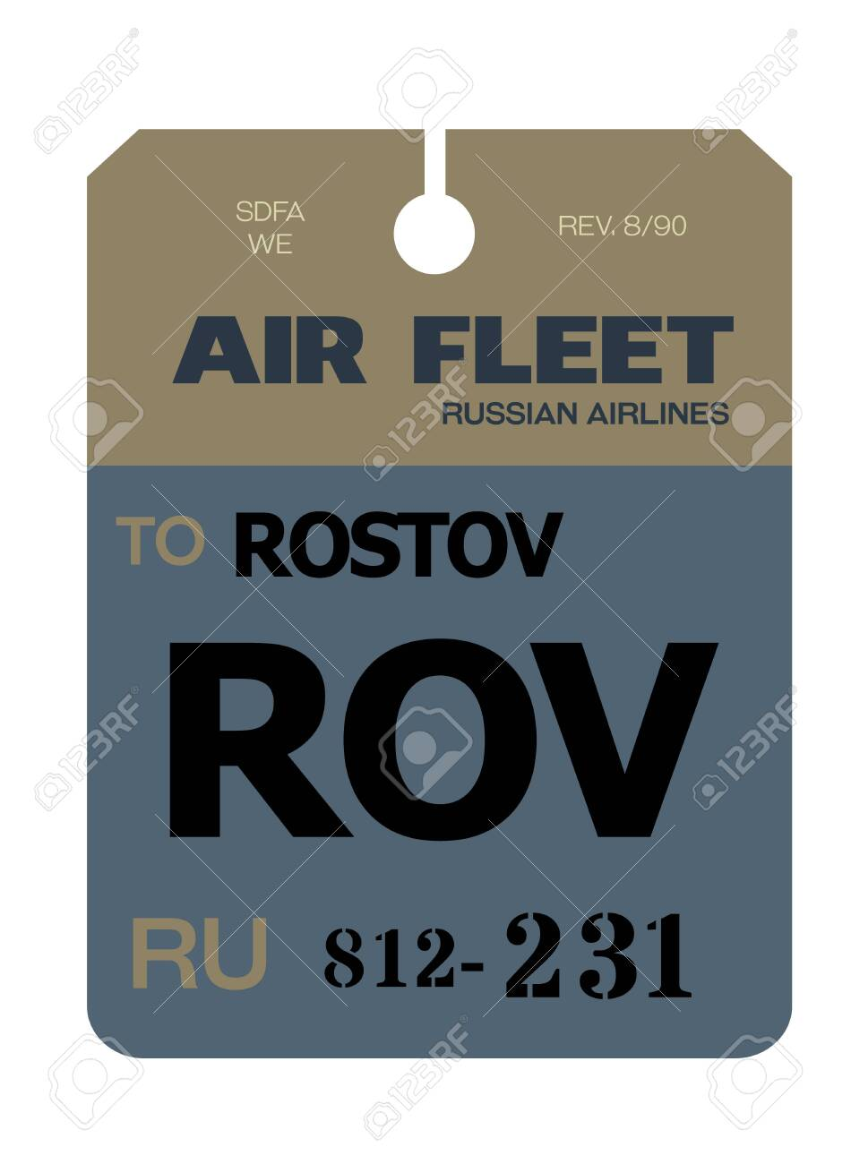 Rostov-on-Don realistically looking airport luggage tag illustration - 124362464