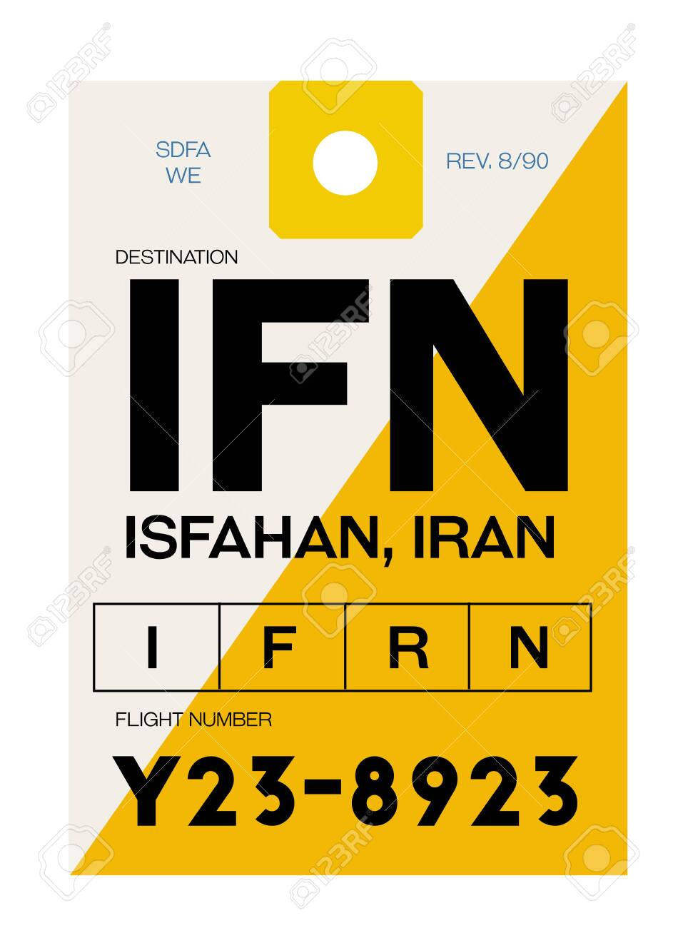 Isfahan realistically looking airport luggage tag illustration - 124362505