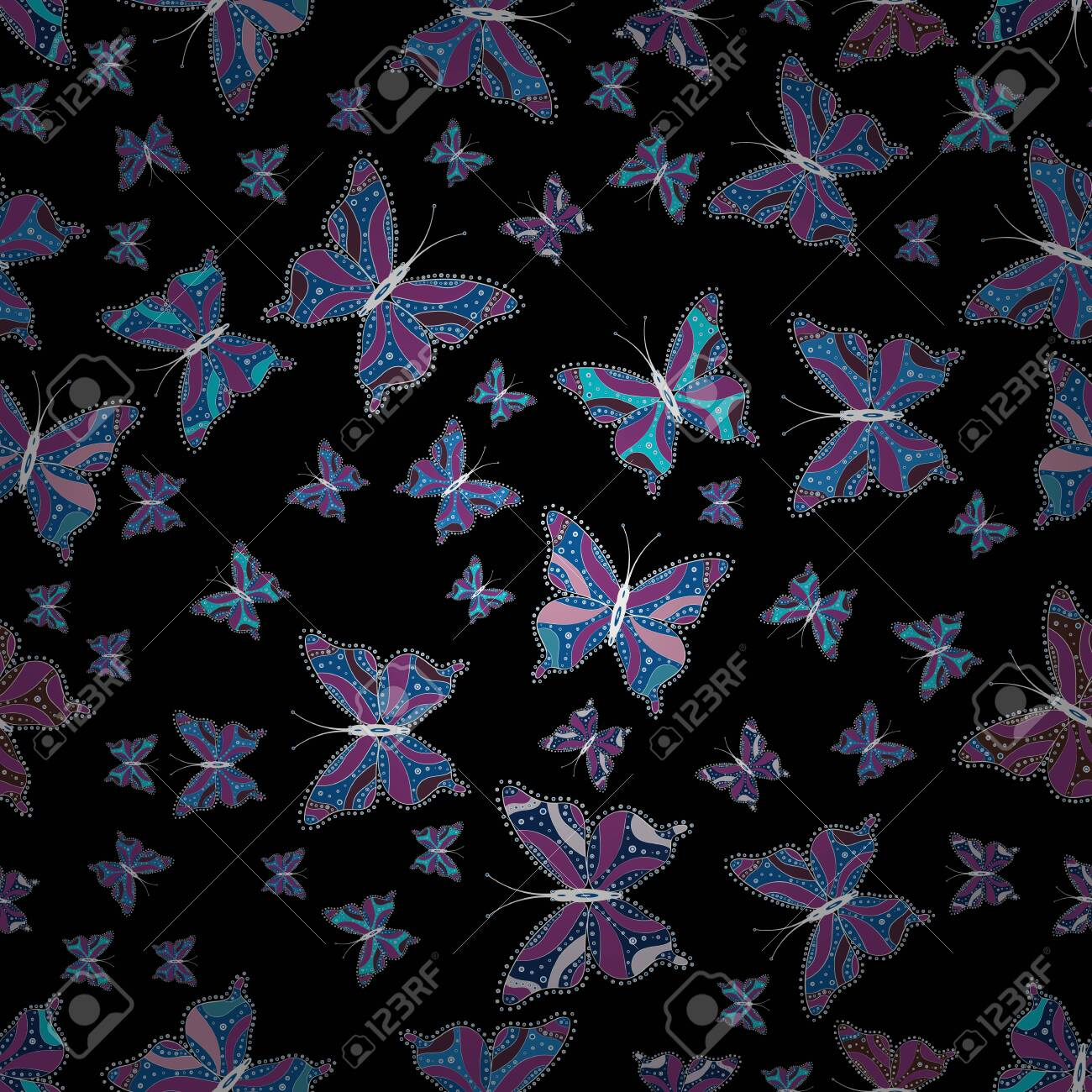 Vector Illustration Of Watercolor Butterflies On Blue Purple Royalty Free Cliparts Vectors And Stock Illustration Image 123603810