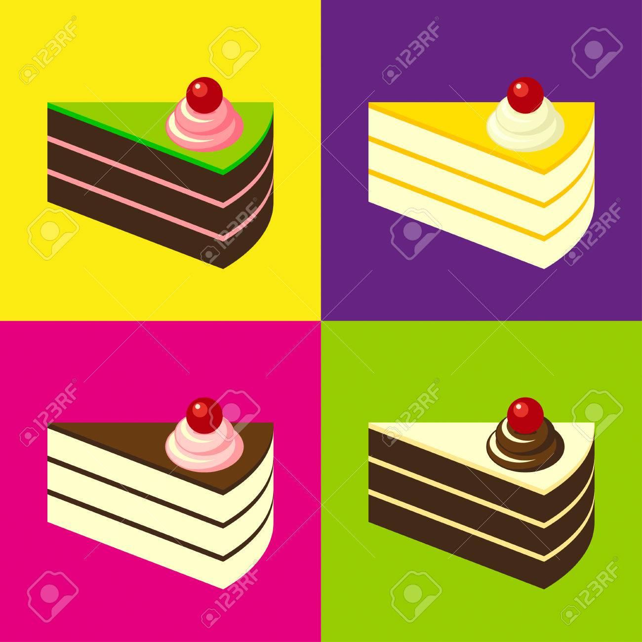 Kostliche Kuchen Auf Bunten Fliesen Hintergrund Pop Art Stil