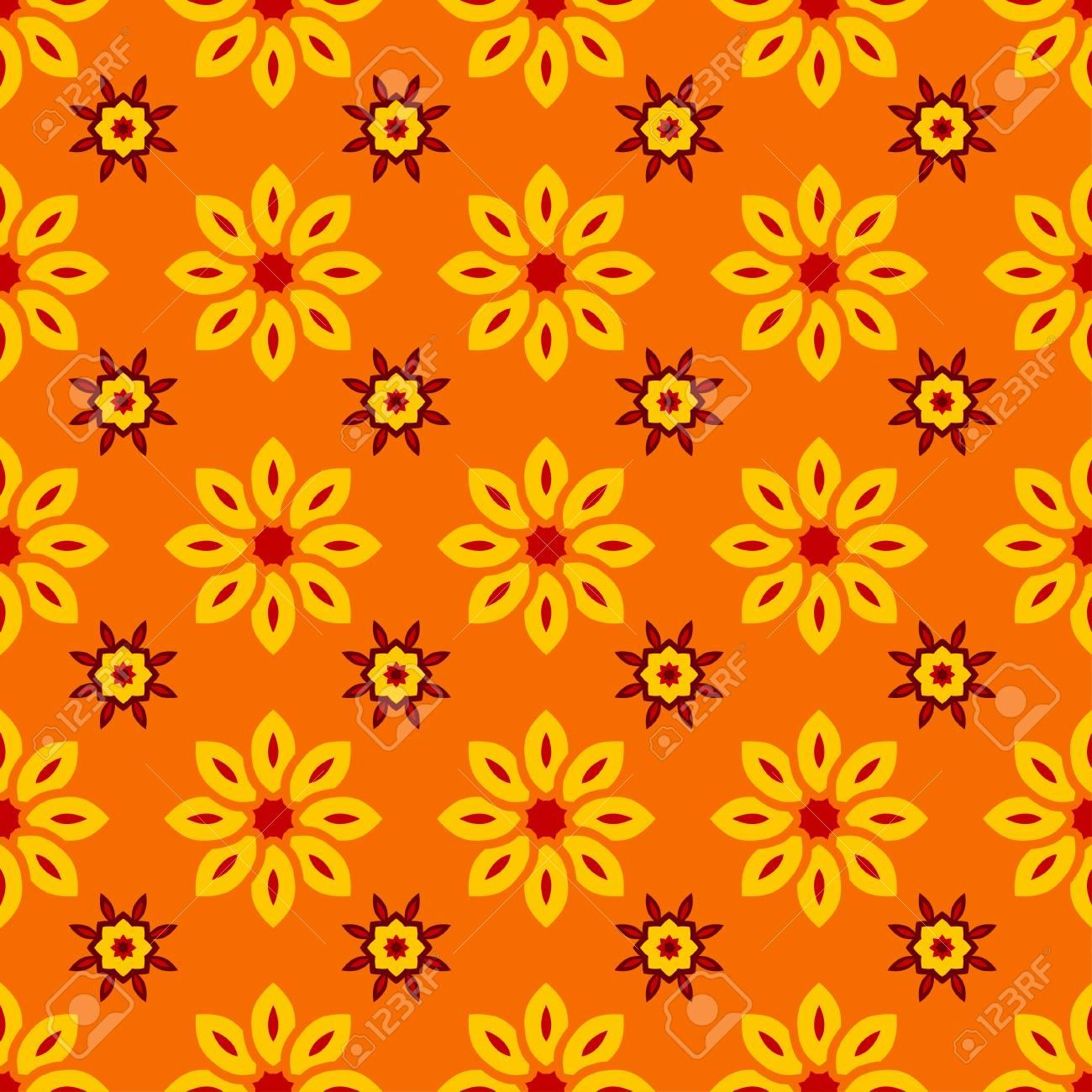 Fiori Gialli Libri.Vettoriale Ornato Floreale Con Fiori Gialli Su Sfondo Arancione