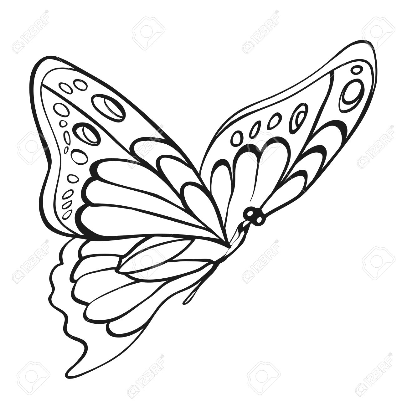 Beautiful monochrome butterfly sketch of insect for design and scrapbooking stock vector 39349173