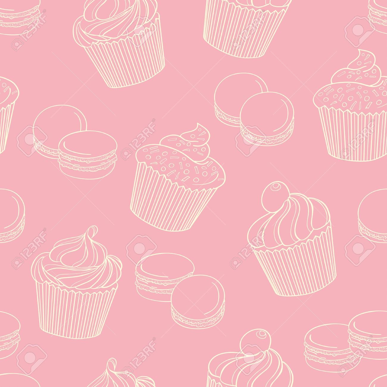 Delicious cupcakes with macaroons on pink background, seamless pattern. Can be used for wallpaper