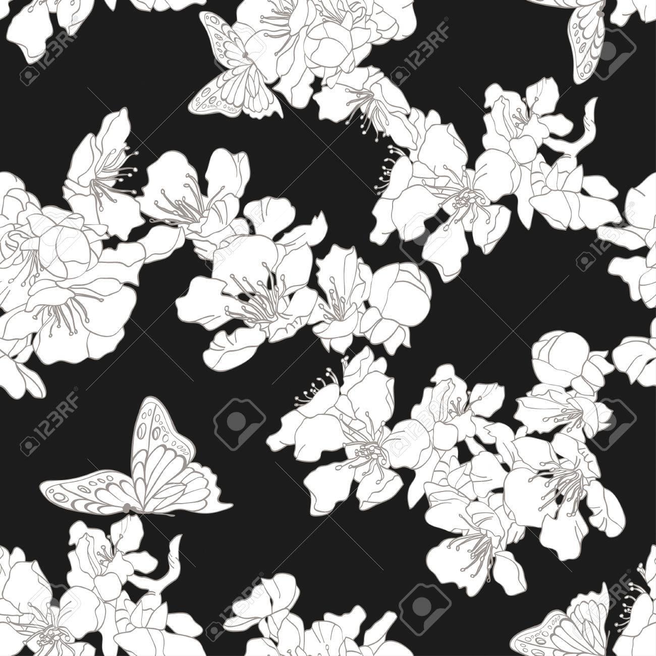 Carta Da Parati Floreale Bianco E Nero.Vettoriale Monocromatico Sfondo Bianco E Nero Senza Soluzione