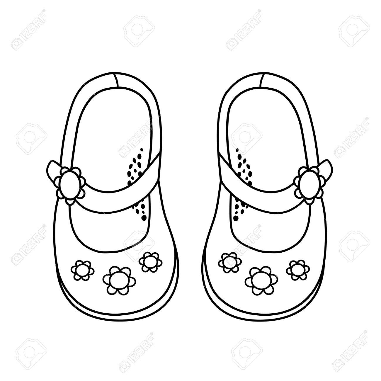 Schuhe Fur Kleine Madchen Hand Gezeichnete Umriss Und Schlaganfall