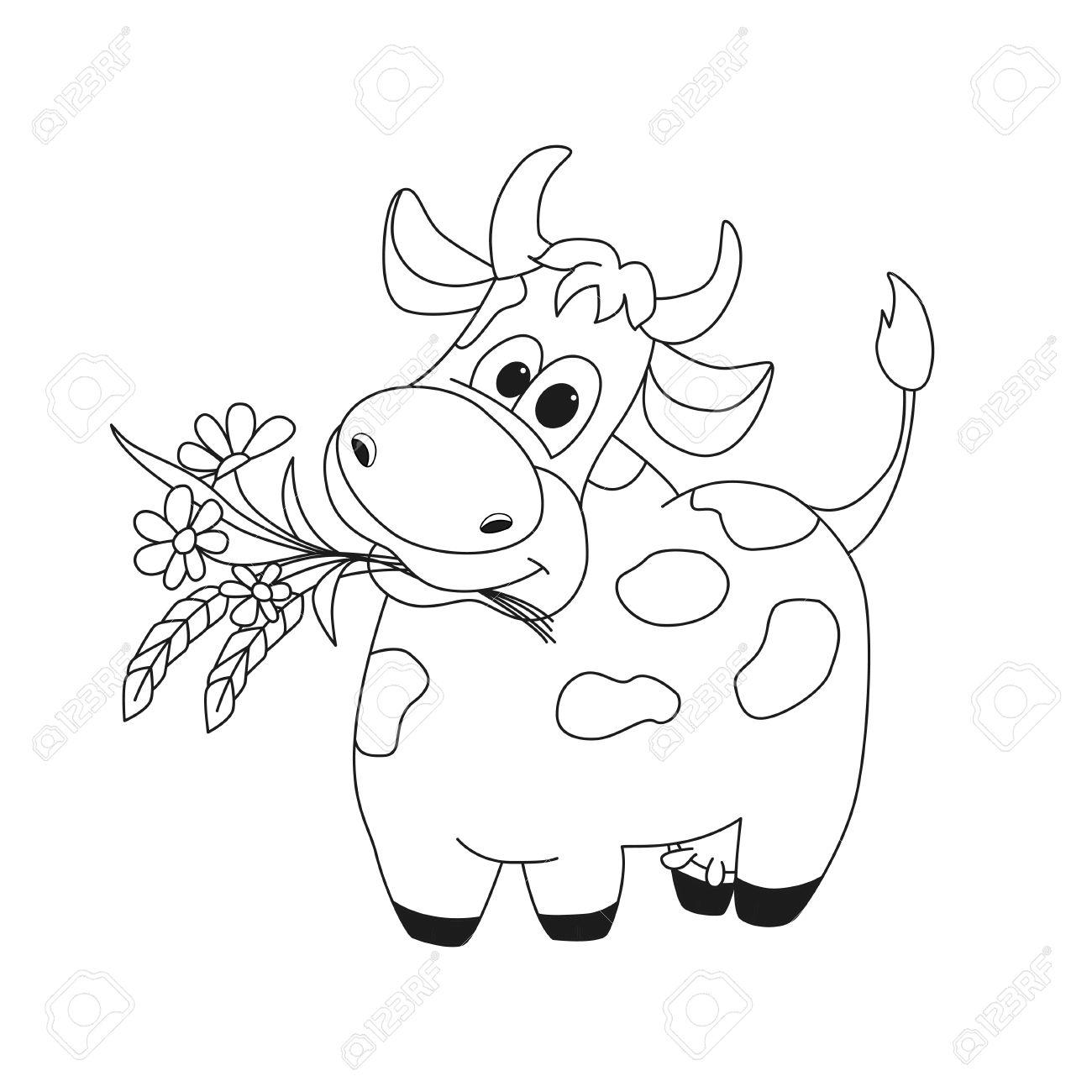 Ilustración Esquema De Vaca Linda Con Flores. Ilustración Del ...
