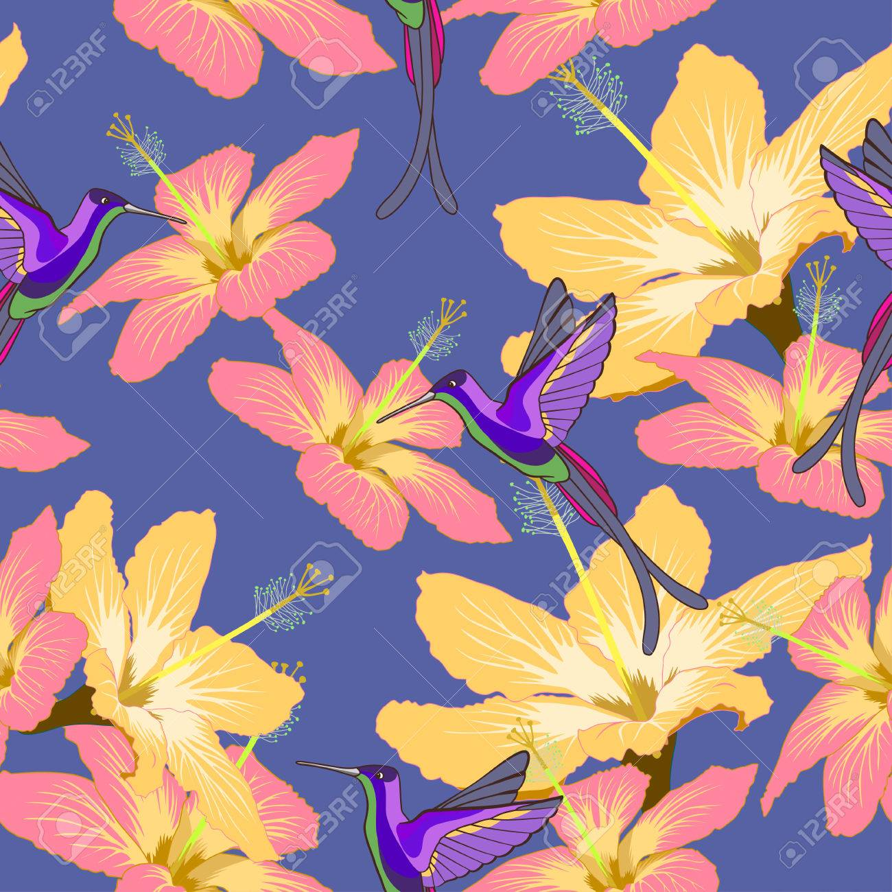 Seamless Pattern With Hibiscus Flowers And Hummingbird On Blue Background Can Be Used For Wallpaper