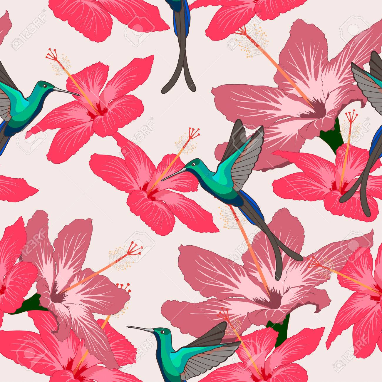 Seamless Pattern With Hibiscus Flowers And Hummingbird On Light Background Can Be Used For Wallpaper