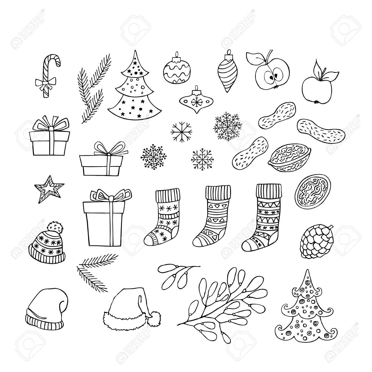 Sammlung Von Weihnachten Und Neujahr Handgezeichnete Cliparts ...