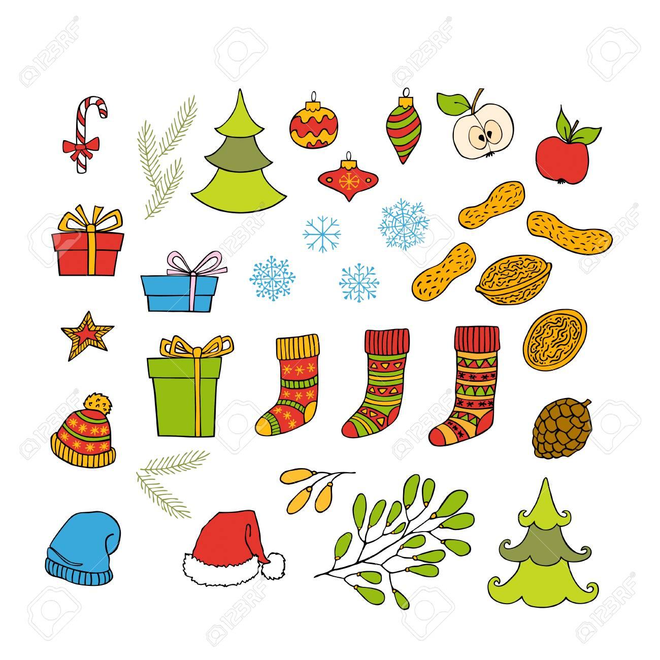 Bunte Sammlung Von Weihnachten Und Neujahr Handgezeichnete Cliparts ...