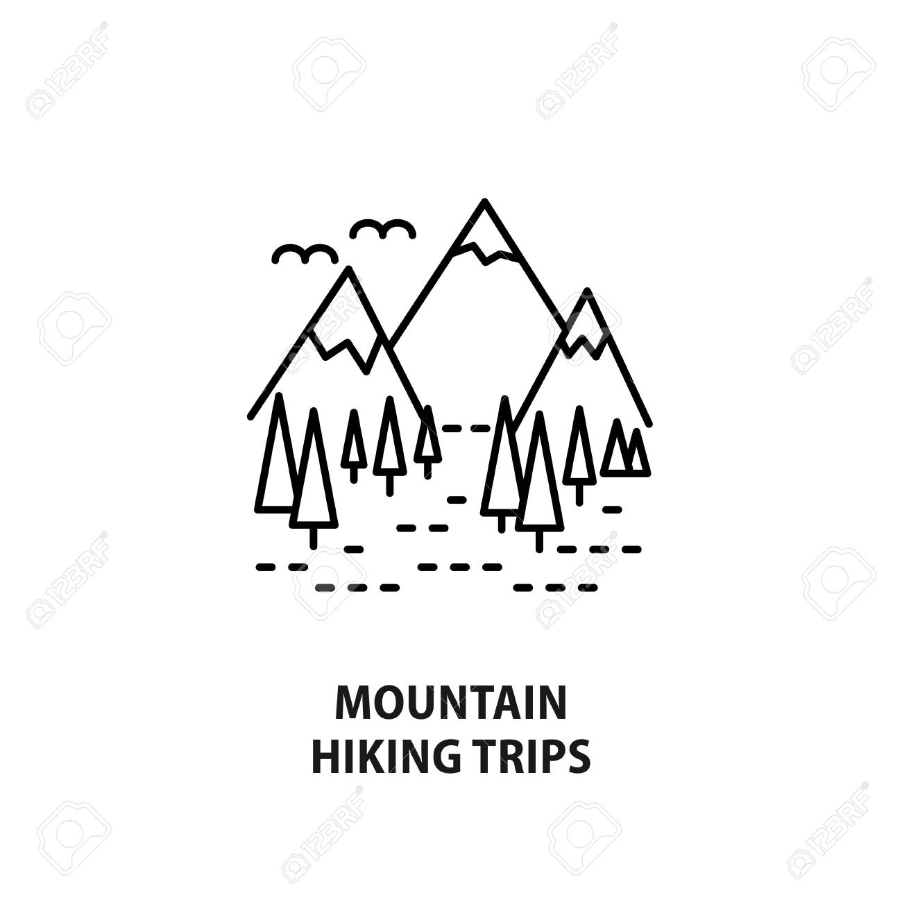 Vector logo for mountain hiking trips isolated on white design vector vector logo for mountain hiking trips isolated on white design concept for travel agency outdoor activity in line style ccuart Choice Image