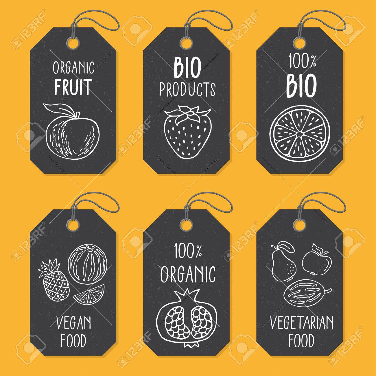 set of tags or label templates with hand drawn fruit vector royalty free cliparts vectors and stock illustration image 74043660 123rf com