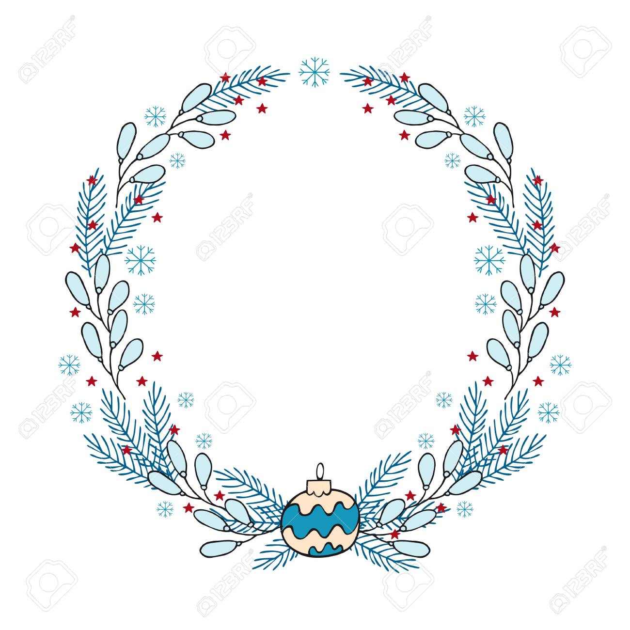 hand drawn winter holiday wreath a template of greeting card