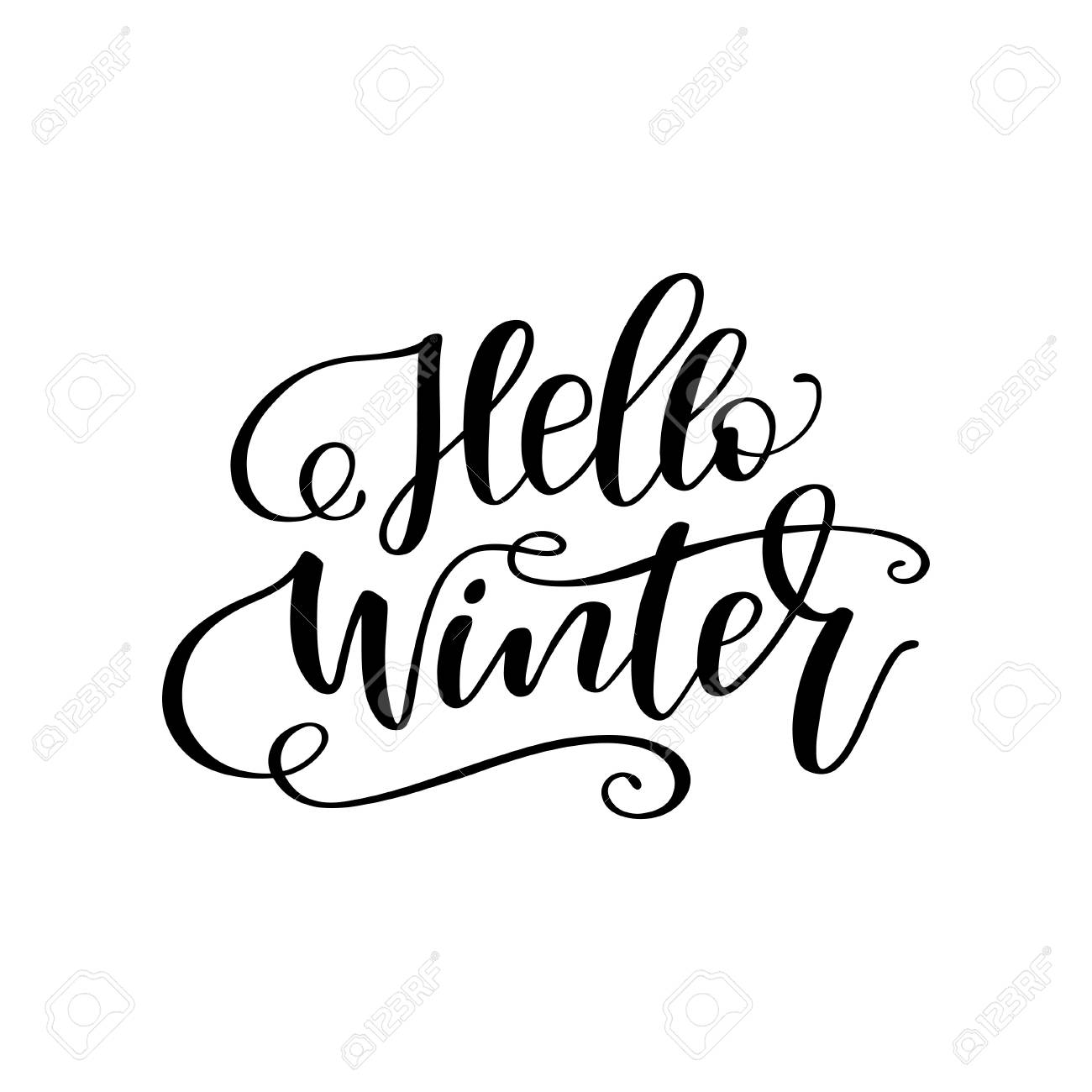 """Hand drawn winter lettering """"Hello winter"""". Handwritten calligraphy design. Print for T-shirt, poster, greeting cards. Vector illustration - 92111181"""
