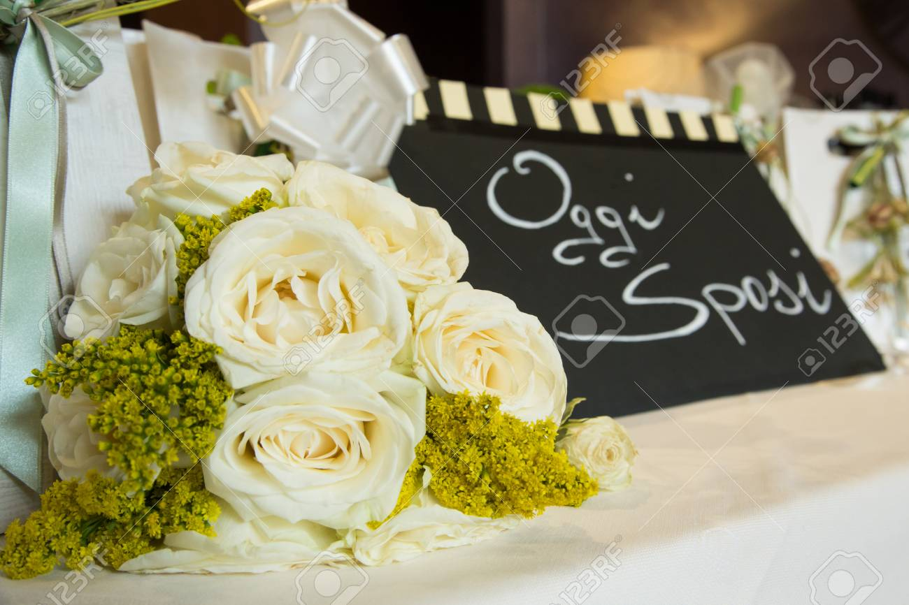 White And Yellow Flower Bouquet With Black Sign Stock Photo Picture