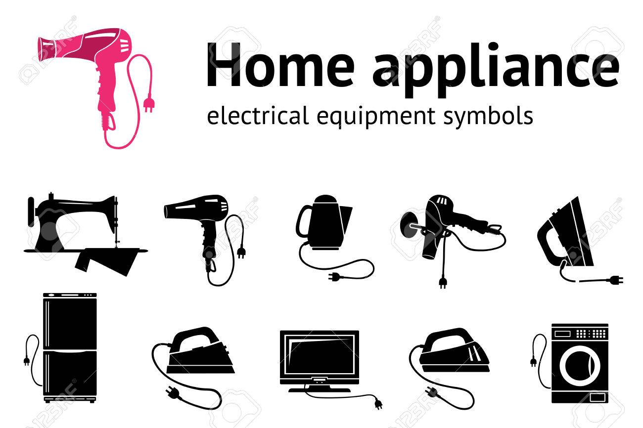 Home Electrical Appliance Icon Set. Hairdryer Iron Sewing Machine ...