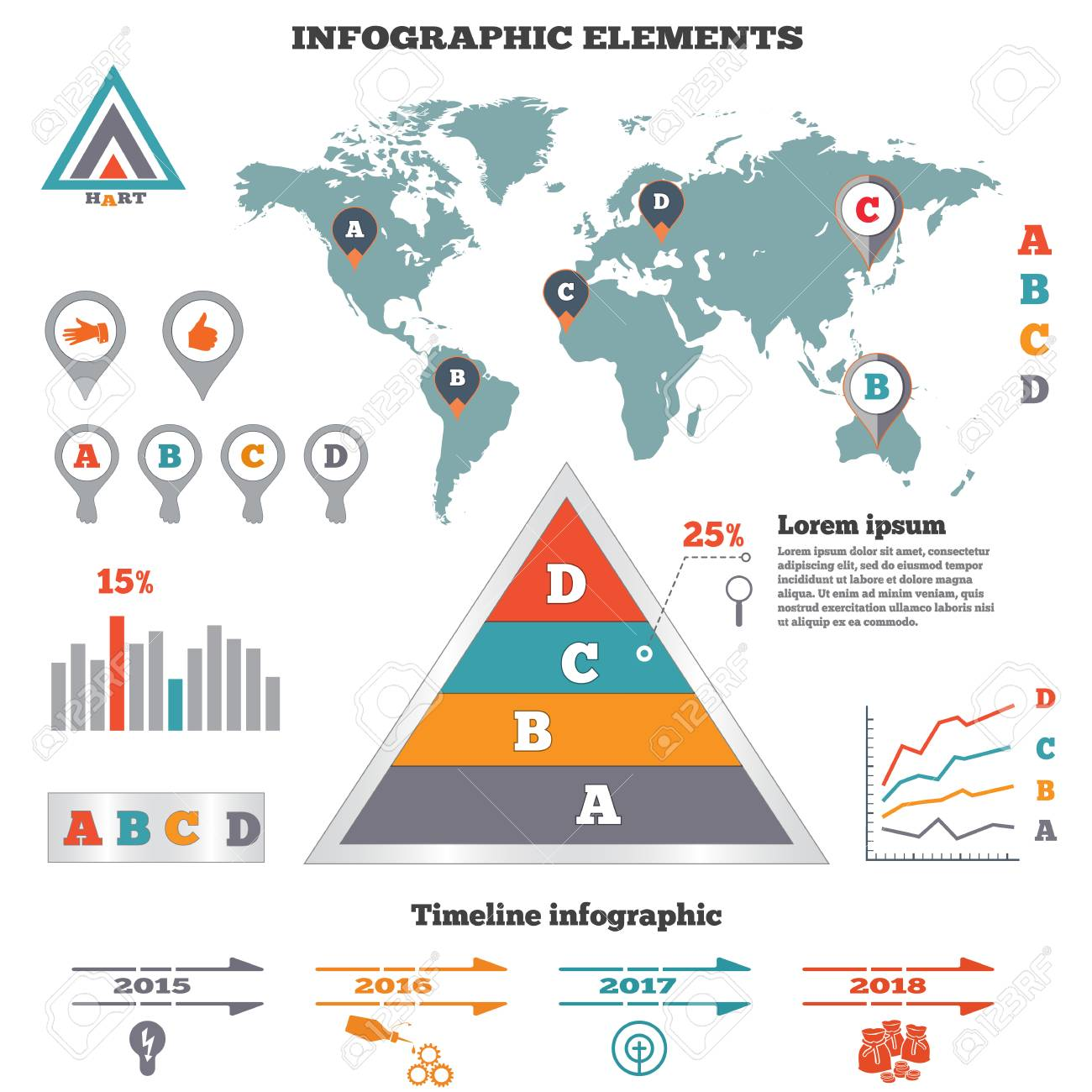 Infographics Elements Set Pyramid Chart World Map Graphics