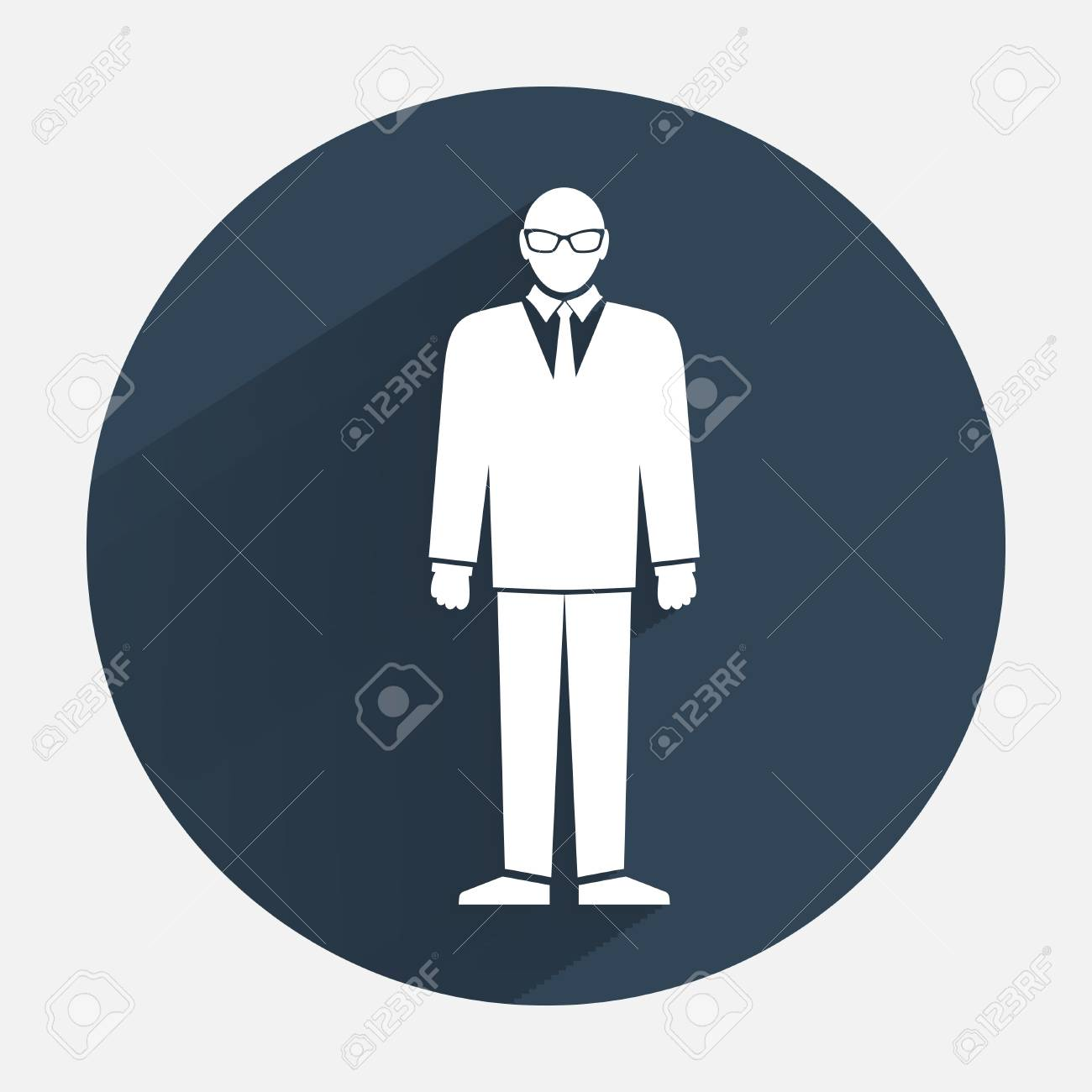 Man icon. Office worker symbol. Standing men in suit with tie..