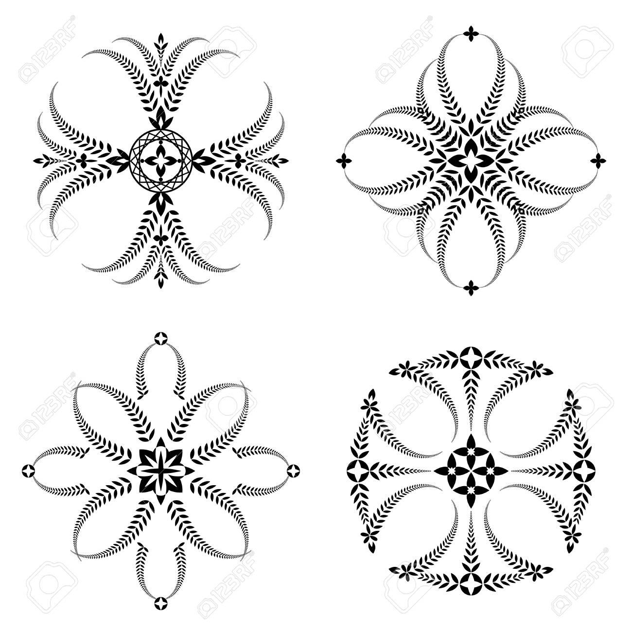 Set De Tatouage De Couronne De Laurier Croix Ornements Stylises